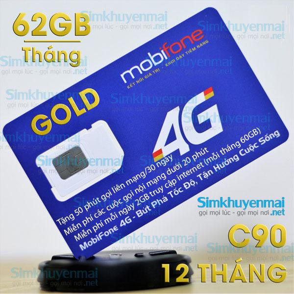 Sim 4g mobifone c90 62gb, gọi nội mạng không giới hạn, tặng 50 phút khác mạng