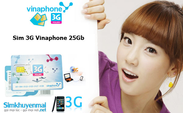 Sim 3G Vinaphone 25Gb giá rẻ
