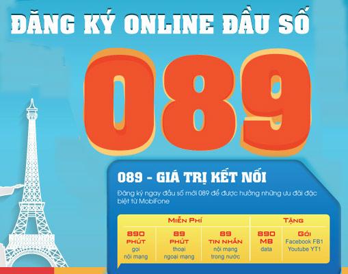 Sim gọi 890 phút miễn phí, Data 890mb, SMS 89 khuyến mãi trả sau đầu số 089 mobifone
